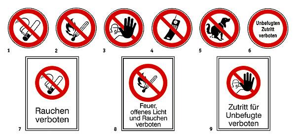 Prohibition Signs: 8 Feuer, offenes Licht ... verboten (text ...